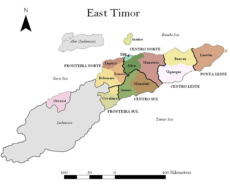 Map of East Timor's districts and resistance sectors, 1975-99.