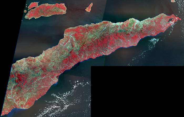 Landsat Enhanced Thematic Mapper (ETM+) mosaic of East Timor from 1999-2000.