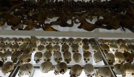 Human skulls preserved are exhibited at the Genocide memorial in Nyamata. Photo: AFP